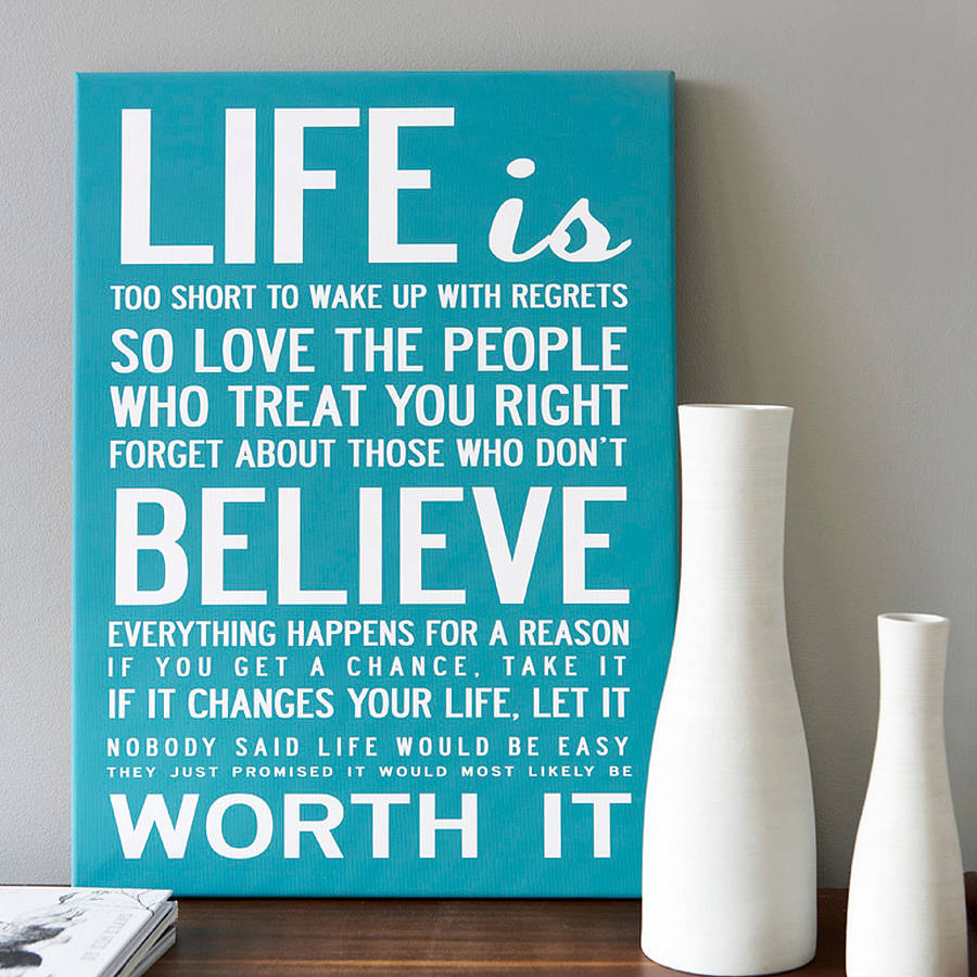 Life quotes on canvas