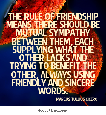Friendship quotes - The rule of friendship means there should be mutual sympathy..