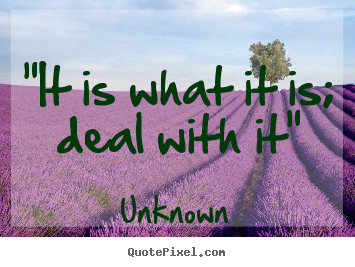 "Inspirational quotes - ""it is what it is; deal with it"""