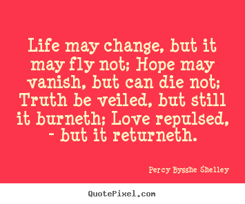 Create graphic picture sayings about inspirational - Life may change, but it may fly not; hope may vanish,..