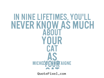 Michel De Montaigne picture quotes - In nine lifetimes, you'll never know as much about your cat as your.. - Life quotes