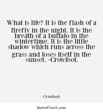 What is life? it is the flash of a firefly in the night. it is the.. Crowfoot great life quote