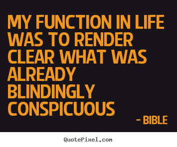Life quotes - My function in life was to render clear what was already..