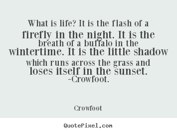 What is life? it is the flash of a firefly.. Crowfoot  life quotes