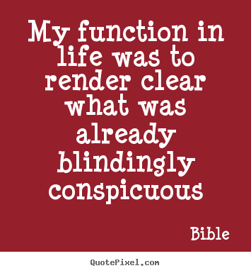 Life quote - My function in life was to render clear what was already blindingly conspicuous