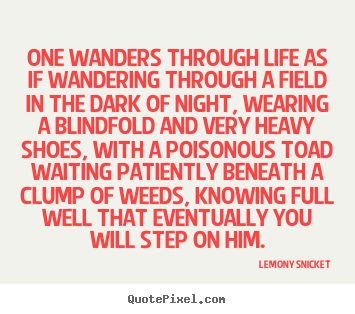 Lemony Snicket picture quotes - One wanders through life as if wandering through a field in the dark.. - Life quote