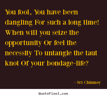 Sri Chinmoy picture quotes - You fool, you have been dangling for such.. - Life quotes