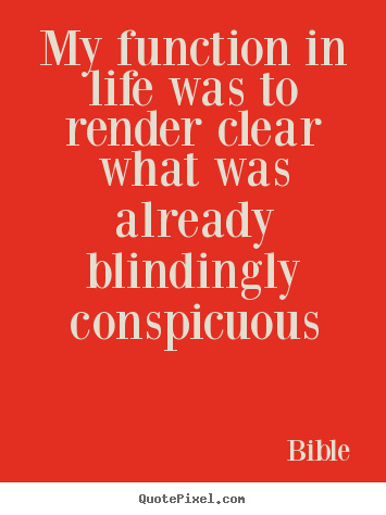 Quote about life - My function in life was to render clear what was already blindingly..