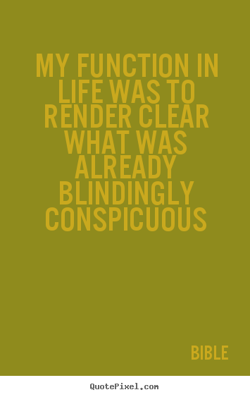 Life quote - My function in life was to render clear what..