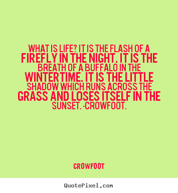 Crowfoot picture quotes - What is life? it is the flash of a firefly in the night. it is the breath.. - Life quotes