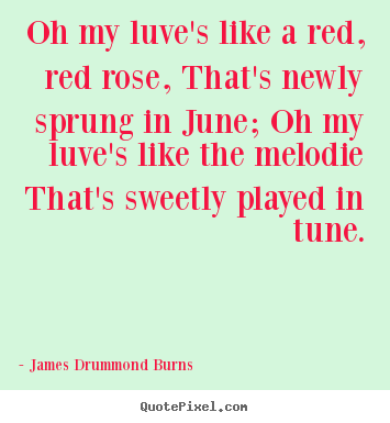 Oh my luve's like a red, red rose, that's newly sprung in june; oh.. James Drummond Burns good love quote