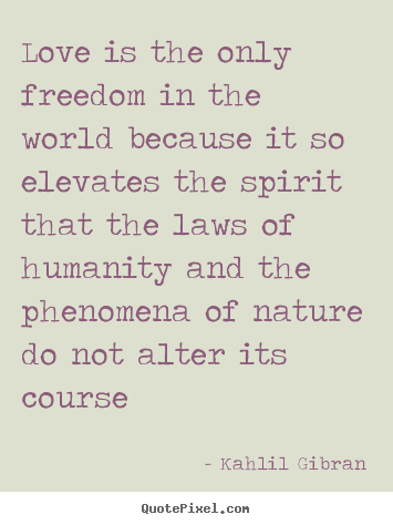Kahlil Gibran picture quote - Love is the only freedom in the world because it so elevates.. - Love quote