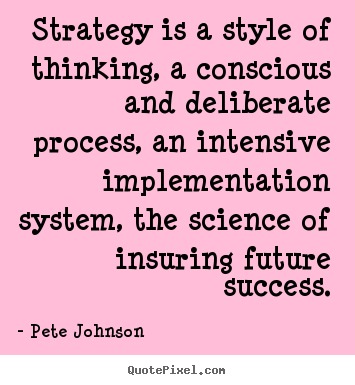 Create photo quotes about success - Strategy is a style of thinking, a conscious and..