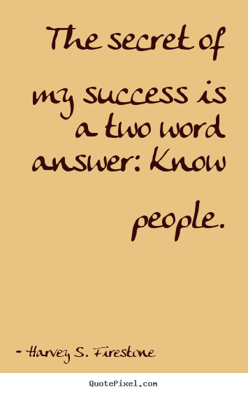 Make custom picture quotes about success - The secret of my success is a two word answer: know people.