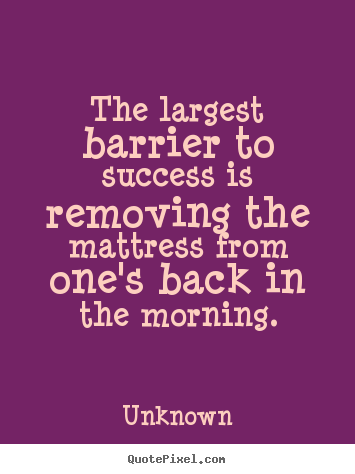 The largest barrier to success is removing.. Unknown  success quote