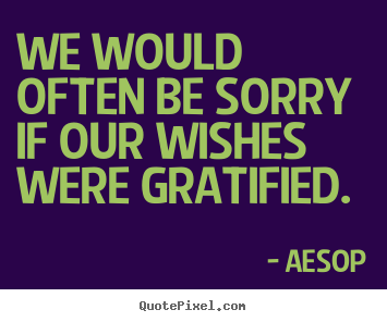 We would often be sorry if our wishes were gratified. Aesop  success quote