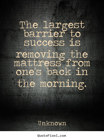 Quote about success - The largest barrier to success is removing the mattress..